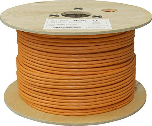 BIGtec 100m CAT.7 Verlegekabel Netzwerkkabel Duplex LAN Kabel Installationskabel Verkabelung Datenkabel CAT7 CAT 7 Gigabit BauPVO Eca orange 2x4x2xAWG23