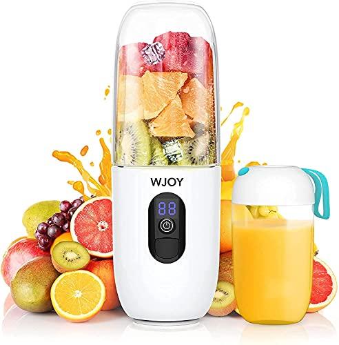 Frullatore Portatile,WJOY 510ml Mini Frullatore, Batteria ricaricabile USB 4800 mAh può essere utilizzato anche come Powerbank to use, senza BPA, sei lame 25000rpm per frullato, frutta, latte frullato