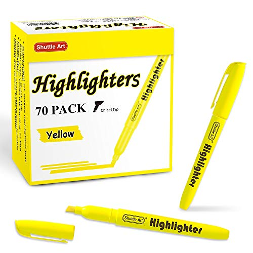 70 Pack Highlighters, Shuttle Art Yellow Highlighters with Versatile Chisel Tip, Highlighter Markers Bulk in Vibrant Color for Highlighting as Office, School Supplies