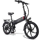 20LVXD30 Bicicleta electrica, Bicicletas eléctricas Plegables para Adultos Hombres Mujeres 10.4Ah 48V 20 Pulgadas con Shimano 7 velocidades 3 Modos Bicicleta para desplazamientos urbanos (Negro)