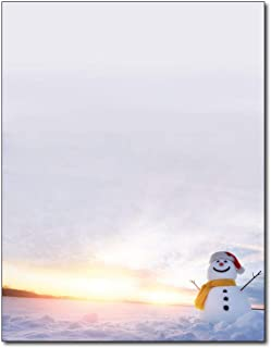 Snowman Sunset Stationery Paper - 80 Sheets - For Christmas, New Years, and Winter Holidays