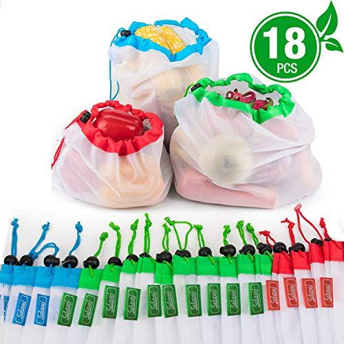 Bolsas reutilizables de malla,Bolsas Compra Reutilizables Ecológicas Bolsas lavables para Almacenamiento frutas,verduras y juguetes y en varios tamaños (18)