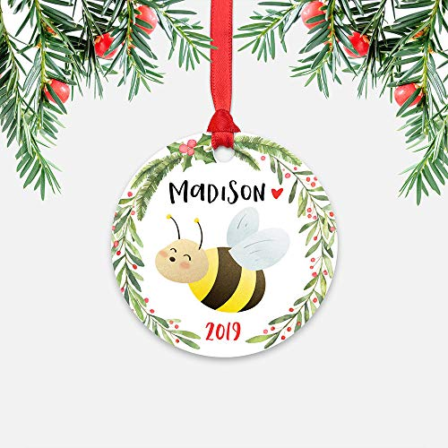 EricauBird Christmas Ornament-Honey Bee Personalized Christmas Ornament for Kids Boy Girl Toddler Children Baby, Name Custom Christmas Ornament, Cute Animal Bug Ornament, Home Decor