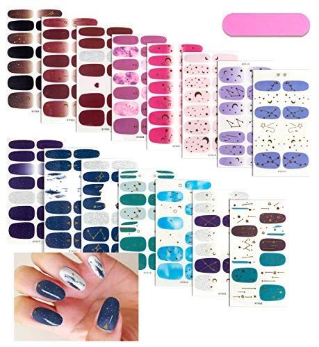 15 Sheets Full Nail Polish Strips Nail Wraps Decal Street Adhesive Nails Stickers False Nail Design Nail Polish Strips with Nail Files for Women Girls