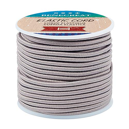 BENECREAT 3mm Gray Elastic Cord 20m/21 Yard Stretch Thread Beading Cord Fabric Crafting String Rope for DIY Crafts Bracelets Necklaces