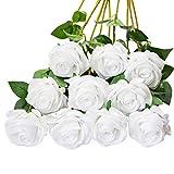 DuHouse 10 künstliche Rosen, künstliche Seidenblumen, künstliche Rosen, lange Stiel, Blumenstrauß für Arrangement, Hochzeit, Tafelaufsatz, Party, Zuhause, Küche, Dekoration (reinweiß)