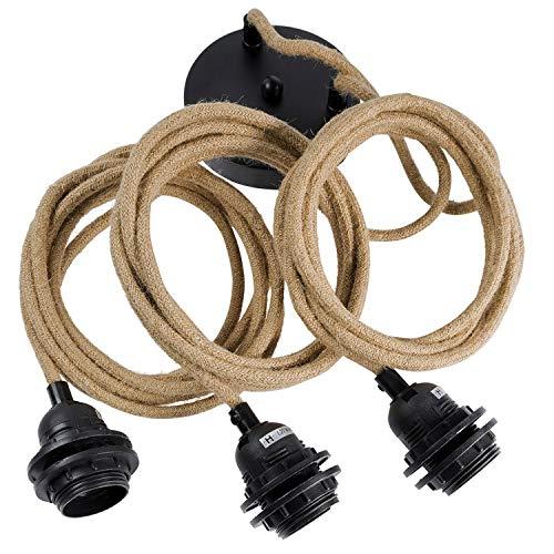 Hoopzi - Hang 3 - Pendelleuchte 3 Flammig - 6 Farben Textilkabel - 3 Meter - Lampenfassung mit Kabel - 3 X E27 Fassung - Hängeleuchte, Hängelampe, Pendellampe - Seil