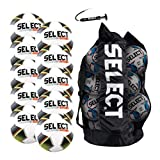 SELECT Classic Soccer Ball, 10-Ball Team Pack with Duffle Ball Bag and Ball Pump, White, Size 5