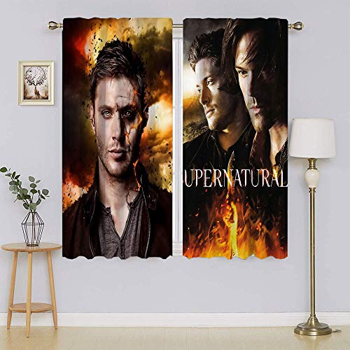 Supernatural TV Series Poster Dean & Sam Winchester Cortinas opacas, aislamiento térmico con ojales de ahorro de energía para sala de estar, dormitorio de 55 pulgadas de ancho x 45 pulgadas de largo