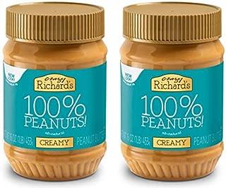 Crazy Richard's All Natural Creamy Peanut Butter 100% Peanut Non GMO Salt, Sugar, and Palm Oil Free (Creamy Peanut Butter, 2 jars)