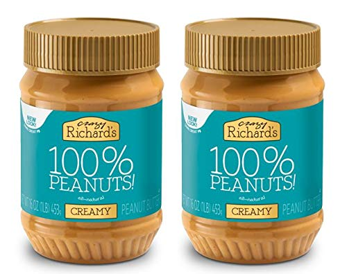 Crazy Richard's All Natural Creamy Peanut Butter 100% Peanut Non GMO Salt, Sugar, and Palm Oil Free (2 jars)