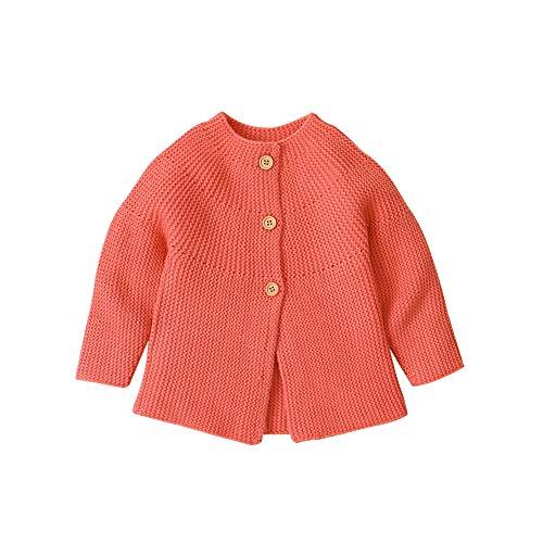 Bebé Tejer Cardigan Mangas largas botón para Arriba Abrigos Top Chicas Chicos Punto suéter Rosa 0-18 Meses (Naranja, 0-3 Meses)
