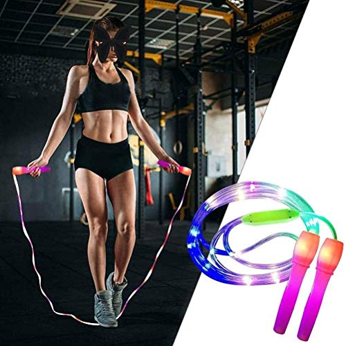 SPTAIR LED-Springseil for Kinder, Hell Springseil, Länge verstellbar und 3 Beleuchtung Modi, Fitness-Springseil mit LED-Leuchten for Kinder und Erwachsene