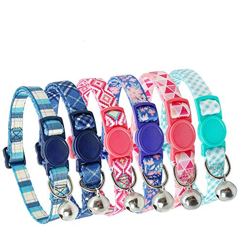 Didog 6Pcs Fresh Color Cat Collars with...