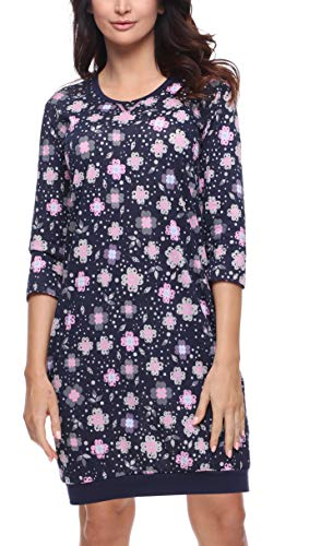 Merry Style Damen Nachthemd MS10-182 (Marine Blumen, M)