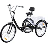 【US Stock】 Adult Tricycles 7 Speed, Hmazy Adult Mountain Trikes 24 Inch, 3 Wheel Bikes Bicycles Cruise Trike with Rear Shopping Basket for Seniors, Women, Men (Midnight Black(7 Speed))