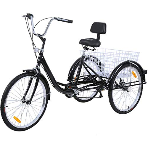 Guoxn Best Adult Tricycle 1/7 Speed Three Wheel Cruiser Bike,26-Inch Wheels, Cargo Basket for Shopping W/Installation Tools,Safe, Convenient and Affordable (Black)