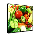 Leowefowas 18x12inch Framed Canvas Wall Art Fresh Vegetables Fruits Painting Kiwi Fruit Banana Tomato Cucumber Picture Food Picture for Living Room Dining Room Kitchen Home Decorations Easy to Hang