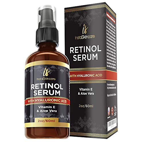 Retinol serum for face (2oz) with Hyaluronic Acid + Vitamin A and E + Aloe Vera - Anti aging moisturizer - Fade Dark Spots - Clinical Strength Formula by InstaSkinCare InstaSkincare