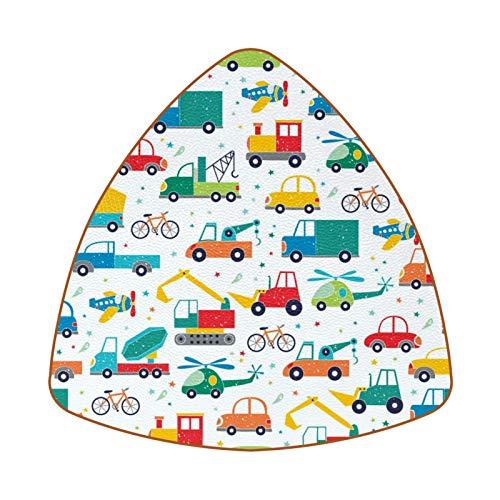 Posavasos triangulares para bebidas, bicicleta, aviones y coches mecánicos, de cuero, para proteger muebles, resistente al calor, decoración de bar de cocina, juego de 6