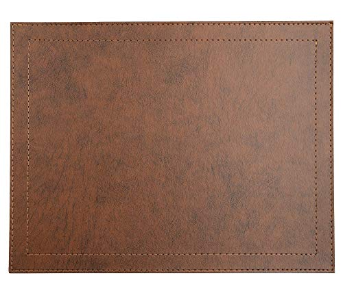 """Via Deco Rectangular Placemats - Set of 4 Eco-Friendly Design - Classic Faux Leather Placemat for Dining and Kitchen Table - Stain Resistant Non-Slip - 16.5"""" x 12.5"""" (Tabacco)"""