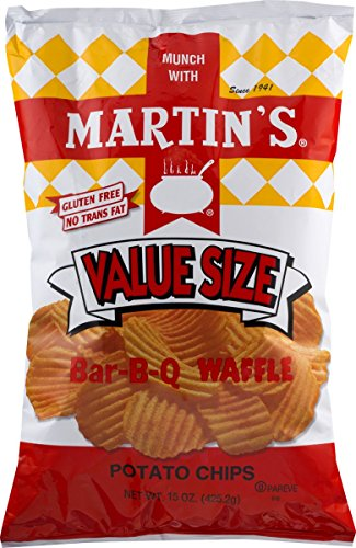 Martin's Bar-B-Q Waffle Potato Chips 15 Ounces Value Size (2 Bags)