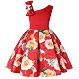 Girls Dresses Fashion Girls Dress Party Wedding Princess Flower Girl Dress Cold Shoulder Bow Tie Kids Dress Size 3 2-3(Red,3)