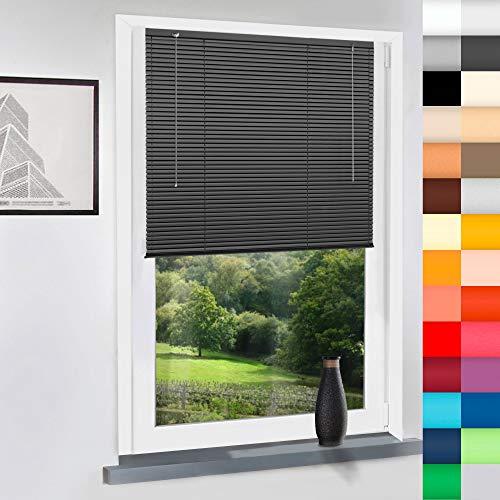 Aluminium Jalousie nach Maß, Jalousien Alu Jalousien nach maß innen Innenjalousien Maßanfertigung, für Fenster und Türen, Fenster, Klemmfix ohne Bohren (Anthrazit, Höhe: 180cm x Breite: 85cm)