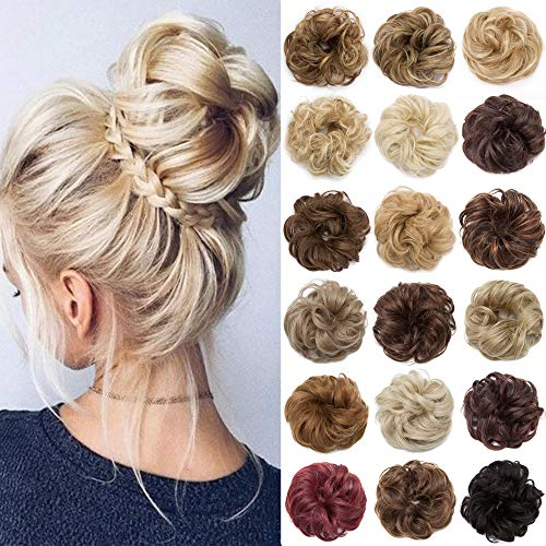 Messy Bun Hair Pieces Scrunchy Updo for Women Fluffy Wavy Hair Bun...