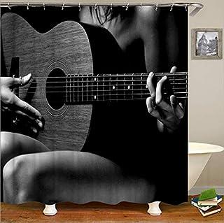 AZZXZONa Cortina De Baño De Poliéster 180X200 Cm Cortina De Ducha Moho Impermeable Hotel Inicio Balcón Partición Decoración 12 Gancho Guitarra Romántica Impresión