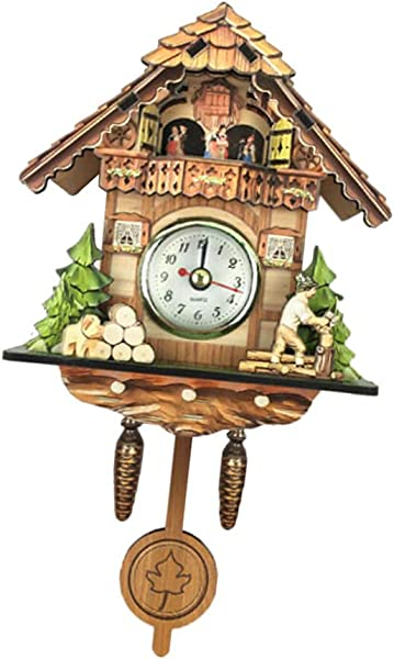 LOVIVER Wooden Vintage Look Cuckoo Clock Wall Art Home Cafe Hotel Decoration C