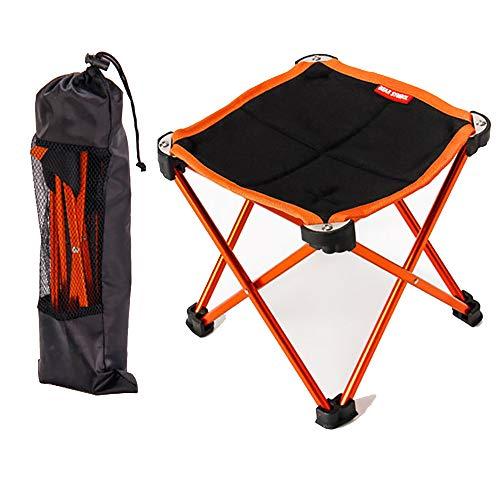 XIAOHE Portable Mini Petit Tabouret Pliant, Assise de Tabouret de Cadre extérieur léger, mobilier de Camping en Plein air pour la randonnée en Montagne + Étui de Transport,Orange