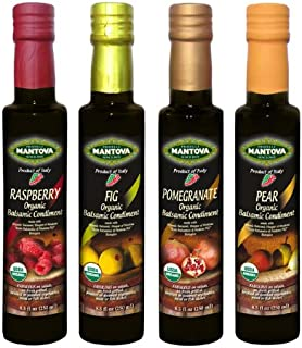 Mantova Organic Flavored Balsamic Vinegar of Modena, Pear, Raspberry, Fig and Pomegranate Vinegar 4-Pack Variety Set, 8.5 fl oz. Per Bottle Great Gift Set