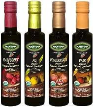 Mantova Organic Flavored Balsamic Vinegar Condiment, Pear, Raspberry, Fig and Pomegranate Vinegar 4-Pack Variety Set, 8.5 fl oz. Per Bottle Great Gift Set
