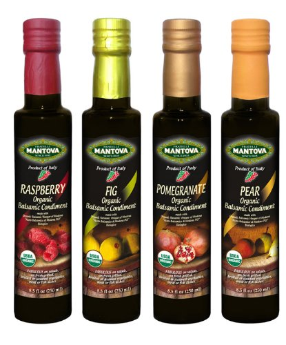 Mantova Organic Flavored Balsamic Vinegar of Modena 4-Variety Pack: Fig, Pear, Pomegranate, & Raspberry; Perfect for Gift Basket, Add to Pasta, Salad, Ice Cream and Cocktails, 8.5 oz per bottle