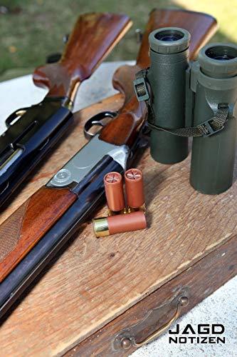 JAGD NOTIZEN PUNKTRASTER NOTIZBUCH: 6x9 Zoll (ähnlich A5 Format) Merkbuch mit Jagdgewehr Munition und Fernglas Jagdzubehör Cover coole Geschenkidee für Männer Frauen
