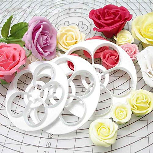1Set/6Pcs Fondant Cake Sugar Craft Rose Flower Decorating Cookie Mold Gum Paste Cutter Tool