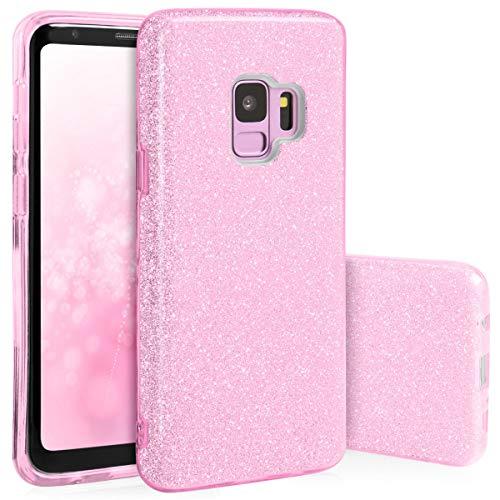 Preisvergleich Produktbild QULT Schutzhülle kompatibel mit Samsung Galaxy S9 Hülle Glitzer Rose glänzend Tasche TPU Case G960F Samsung S9 Handyhülle Silikon Bumper mit Glitter Design Pink