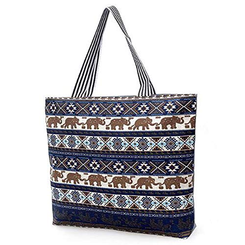 FashionBoutique Heavy Duty Cotton Canvas Reusable Shopping Tote Bag or daily use bag with beautiful pattern (Blue Elephant - Zip closure)