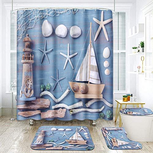 ArtSocket 4 Pcs Shower Curtain Set Nautical White sail Boat Lighthouse Starfish Seashells with Non-Slip Rugs Toilet Lid Cover and Bath Mat Bathroom Decor Set 72' x 72'