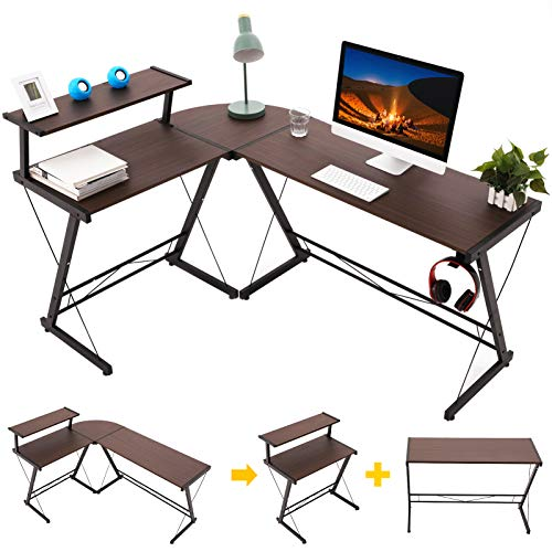 Gome L-Shaped Computer Desk - 61' Corner Desk for Space Saving, Modern Home Office Writing Desk for Work, Study and Gaming, Ergonomic Wood Desk with Monitor Stand, Desk Pad and Hanging Hook