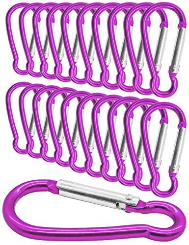 Outdoor Saxx® - Lot de 20 mini mousquetons en aluminium, mousquetons en S, mousquetons pour fixation d'équipement au sac à dos, ceinture, tente, canoë, 5,8 cm, lot de 20, rose, rose