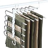 Pants Hanger Space Saving, Baboies 2 Pack Multifunctional Pants Rack Closet Organizers Storage Hangers, Folding Storage 5 in 1 Pants Rack for Pants Jeans Trousers Skirts Scarf