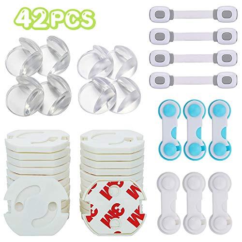 Lenbest 42 Stücke Kinder Sicherheitsset, Erstausstattung Baby mit 8 Eckenschutz, 24 Steckdosenschutz, 6 Universal Sicherung, 4 Schranksicherung