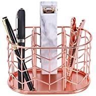 Pen Holder, Nugorise 3 Compartment Metal Pencil Holder, Decorative Desk Storage Organizer Container for Stationery and Desk Accessories, Rose Gold