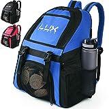 LUX - Mochila de fútbol con compartimento para pelotas para deportes, jóvenes, niños, hombres, niñas, equipo de fútbol sala, baloncesto, voleibol, gimnasio, Blue, azul