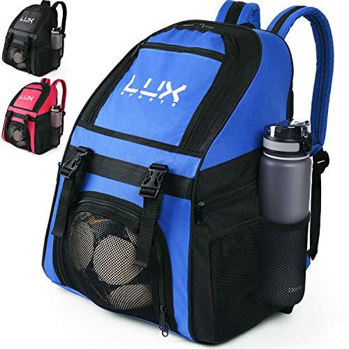 LUX, Fußball-Rucksack mit Ballhalterfach, für Kinder, Jugendliche, Jungen, Herren, Mädchen, Teams, Fußball, Basketball, Volleyball, Fitnessstudio, blau