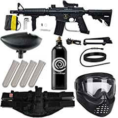 Tippmann US Army Alpha Elite Marker w/ Red Dot Sight AND Carry Handle Action Village 20 oz CO2 Tank and Folding Grip Action Village 4+1 Paintball Harness (Black) and (QTY 4) 140 Round Paintball Pods (Smoke) GXG 200 Round Loader (Black) and Action Vil...