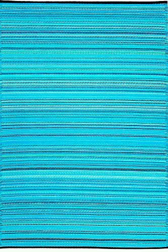 Green Decore Weaver Premium Grade Stain Proof Reversible Plastic Outdoor Rug (8x10, Turquoise Blue Green)