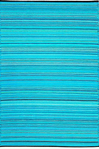 Green Decore Weaver Premium Grade Stain Proof Reversible Plastic Outdoor Rug (6x9, Turquoise Blue Green)